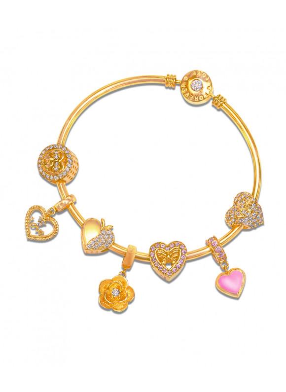 aurora charm bracelet blingtastic gold set