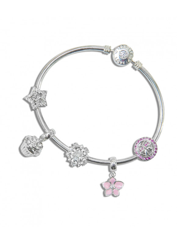 Sweetie Pie Party 18k white gold bangle and charm set