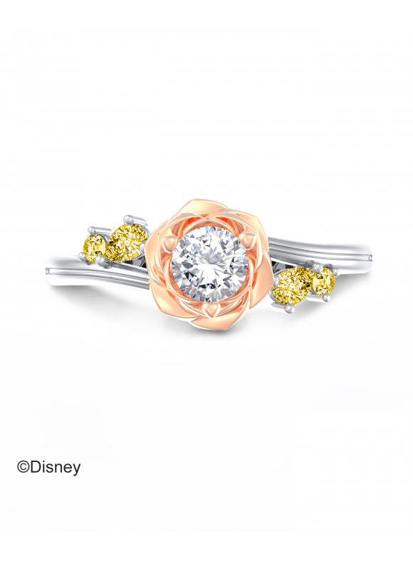 BEAUTY & THE BEAST ENCHANTED ROSE TWIST RING   & ROSE GOLD PLATED